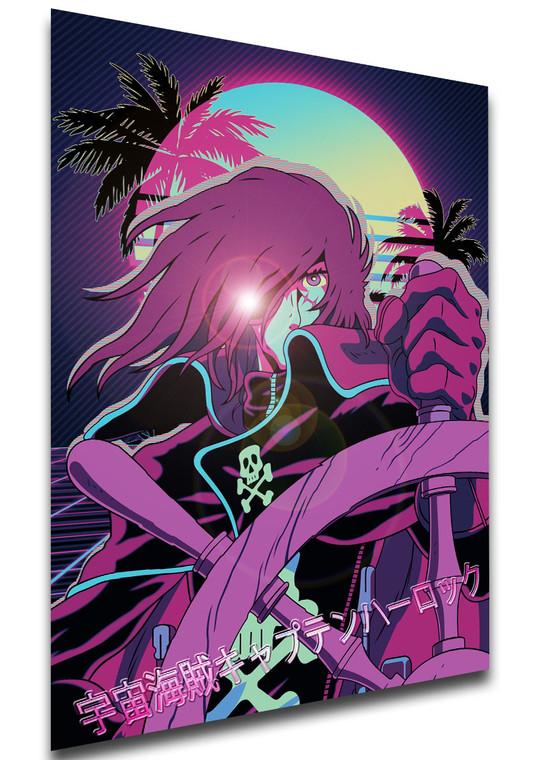 Poster - Vaporwave 80s Style - Captain Harlock