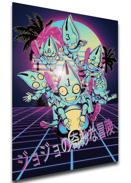 Poster - Vaporwave 80s Style - Jojo's Bizarre Adventure - Vento Aureo - Sex Pistols