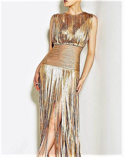 SHY FIGARO Maxi Rose Fringe Bandage Dress