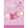 Pink Clothesline Thank you Cards (8)