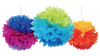 Rainbow Fluffy Pom Pom Decorations (3)