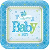Welcome Baby Boy Square Dessert Plates (8)