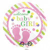 Welcome Baby Girl Feet Foil Balloon