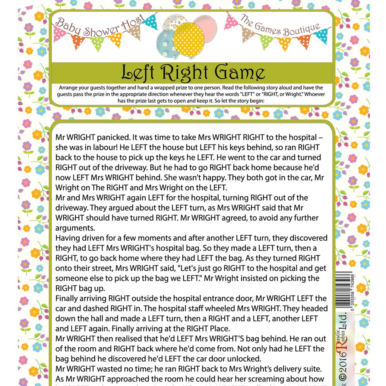 Baby Shower Left And Right Game