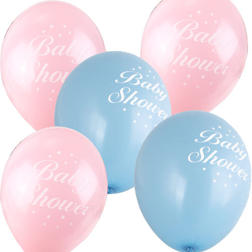 5 Baby Shower Balloons Pink Blue