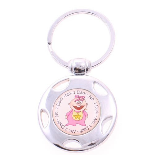 No 1 Dad Baby Metal Keyring