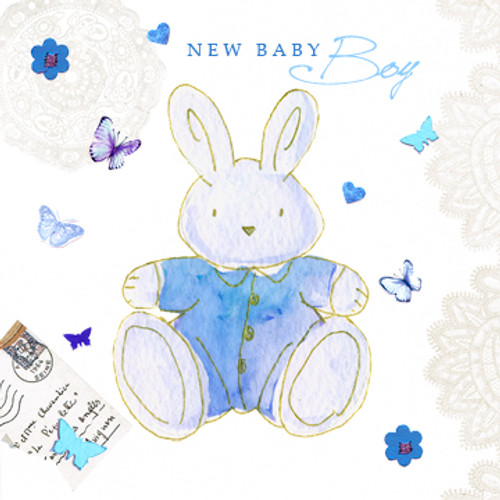 New Baby Boy Bunny Rabbit Greeting Card