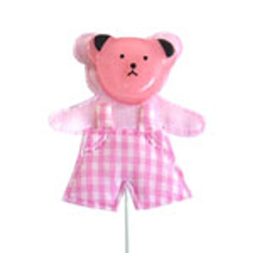 Pink Gingham Teddy Bear On Stick (1)