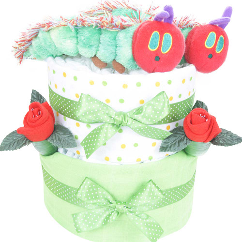 Baby Twins 2 Tier Hungry Caterpillar Swaddle Nappy Cake