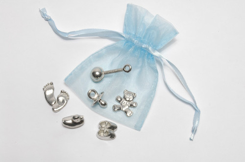6 Cute Baby Charms In Blue Organza Bags