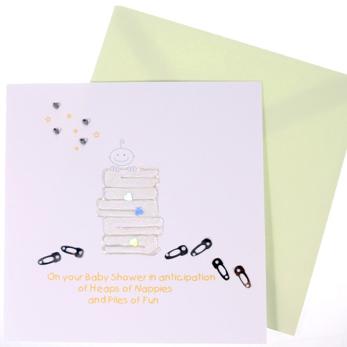 Heaps of Nappies Heart Sequin Card