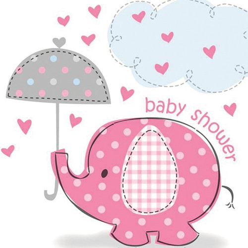 Pink Elephant Umbrella Plastic Tablecover (15.5inx7.5in)