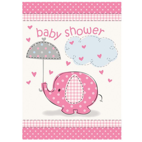 Pink Elephant Umbrella Invites (8)