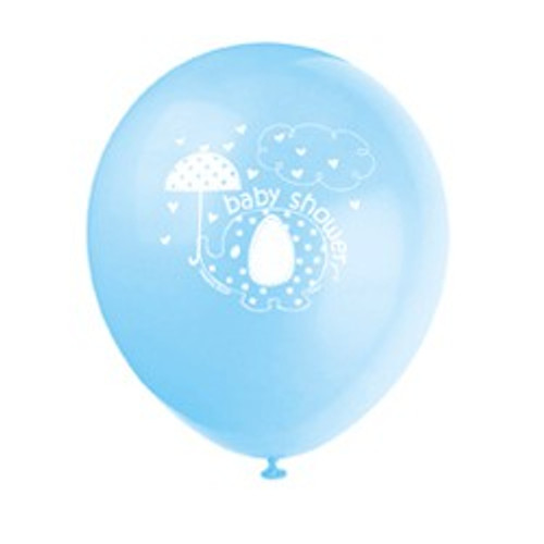Blue Elephant Umbrella Latex Balloons (8)
