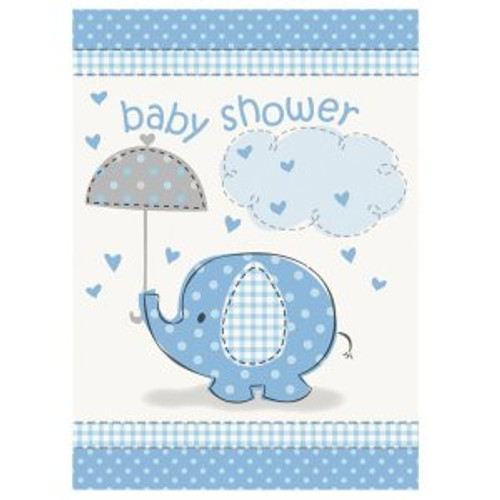 Blue Elephant Umbrella Invites (8)