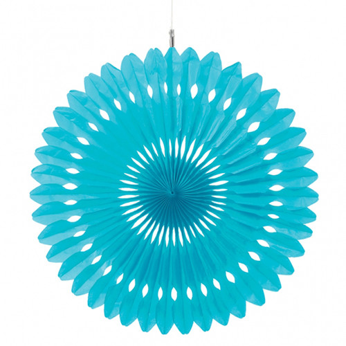 Paper Light Blue Hanging Fan Decoration (1)