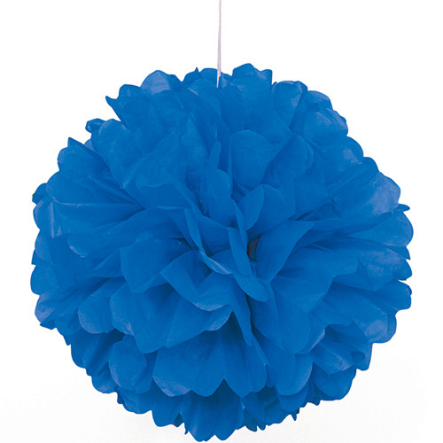 Paper Puff Ball Decoration In Blue (1)