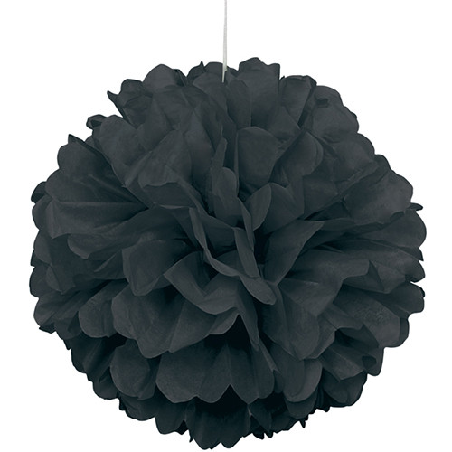 Paper Puff Ball Decoration In Black (1)