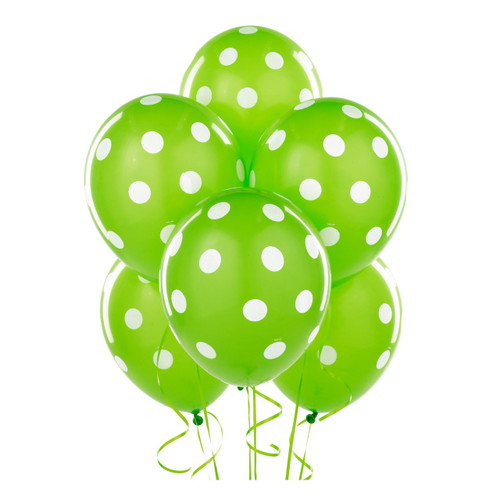 Green Big Dots Latex Balloons (6)
