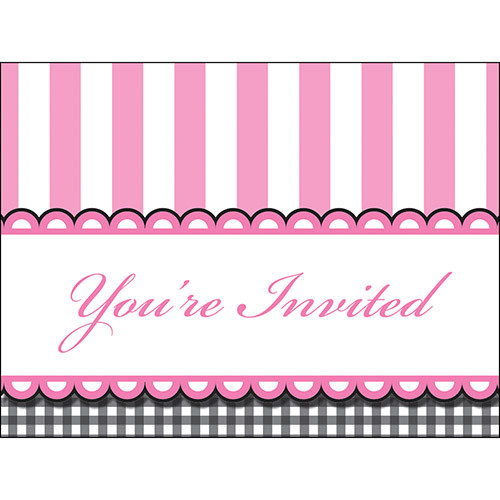 Candy Stripe Footprint Girl Invitations (8)