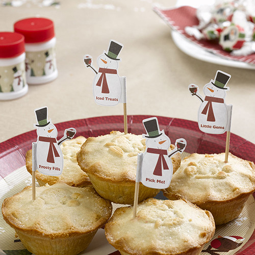 Let It Snow Snowman Mince Pie Picks