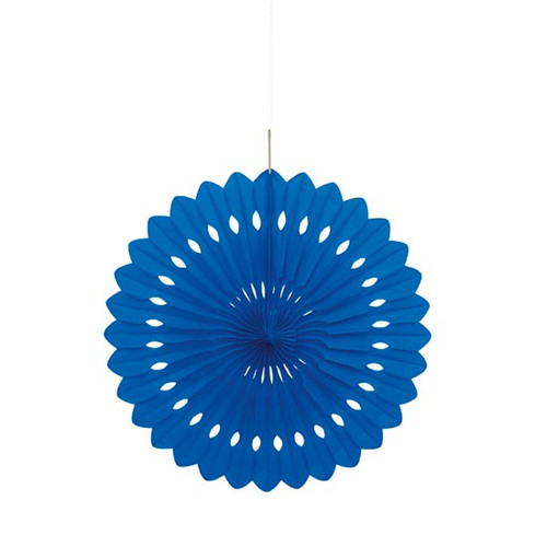 Paper Dark Blue Hanging Fan Decoration (1)