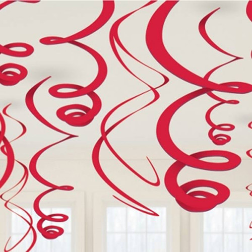 Red Paper Swirl Decorations (8)