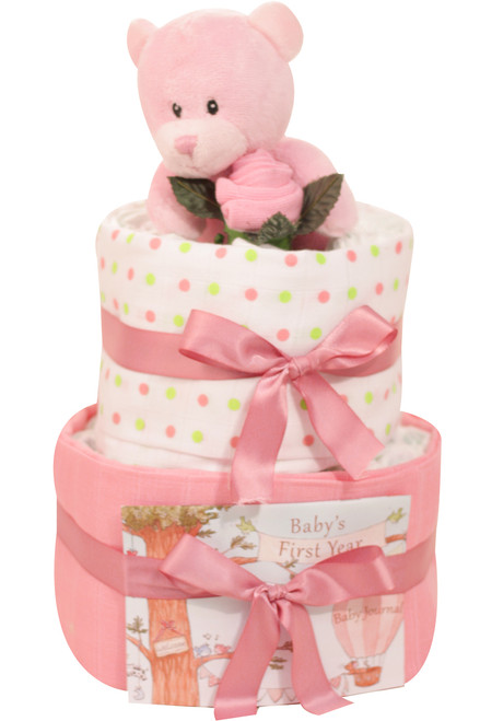 2 Tier Welcome Little One Girl Nappy Cake (Pink Bear)