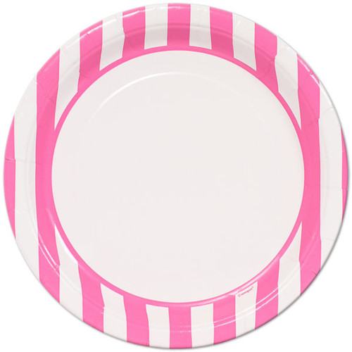 Hot Pink Striped Lunch Plates (8)