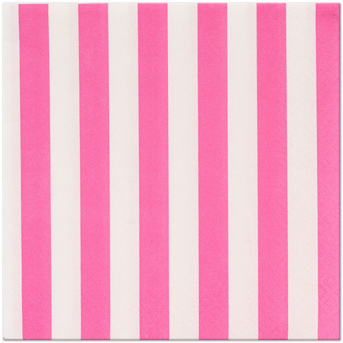 Hot Pink Striped Lunch Napkins (16)
