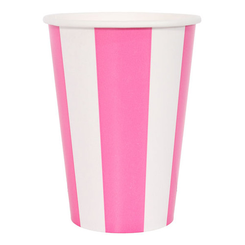 Hot Pink Striped Cups (6)