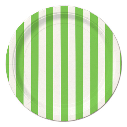 Lime Green Striped Dessert Plates (8)
