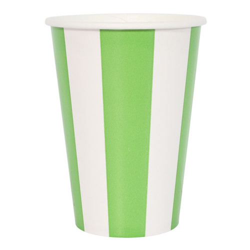 Lime Green Striped Cups (6)