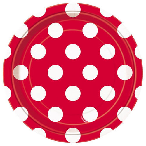 Red Polka Dot Dessert Plates (8)