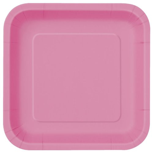 Hot Pink Square Plates (14)