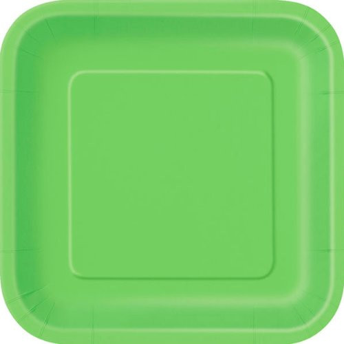 Lime Green Square Paper Plates (14)