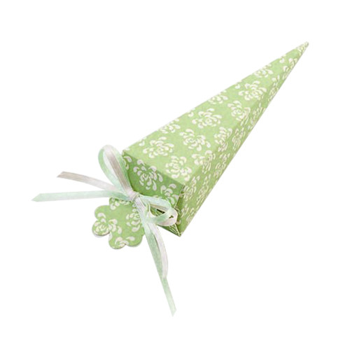 Retro Green Cone-Shaped Favour Box
