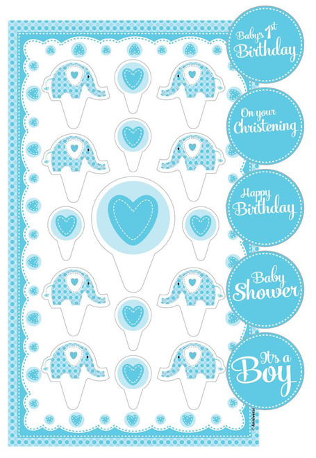 Boy  Cake Toppers Kit Elephant design