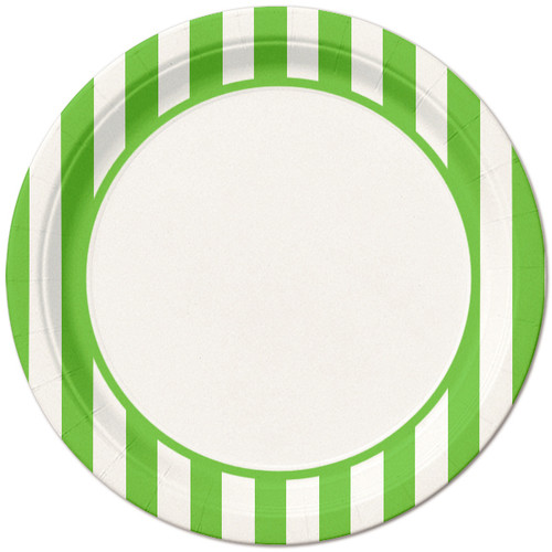 Lime Green Striped Lunch Plates (8)
