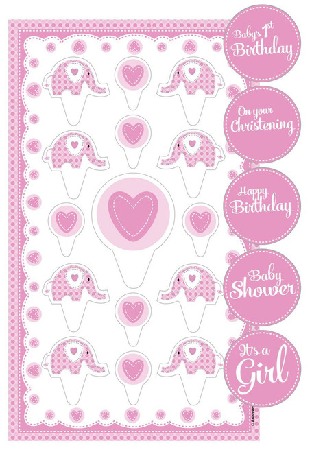 Girl Cake Toppers Kit Elephant design