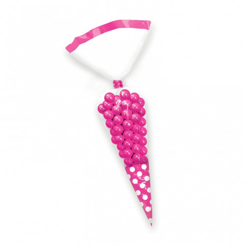 Candy Buffet Cone Polka Dots Bags Bright Pink (10)