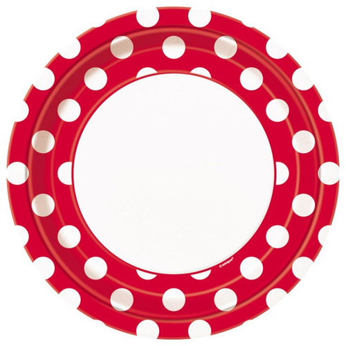 Red Big Polka Dot Lunch Plates (8)