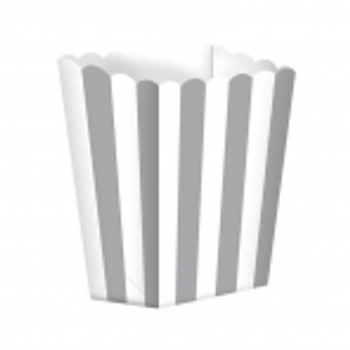 Candy Buffet Popcorn Treat Boxes Silver (5)