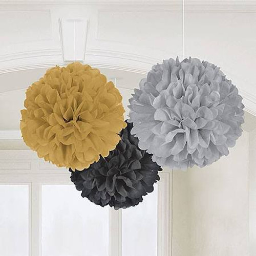 gold fluffy tissue paper decorations