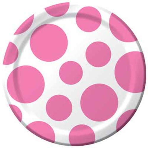 Chevron Dots Candy Pink 8in Plates (8)