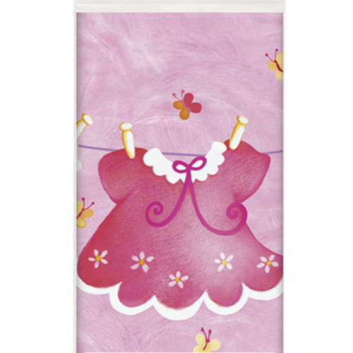 Pink Clothesline Plastic Tablecover (54x84in)