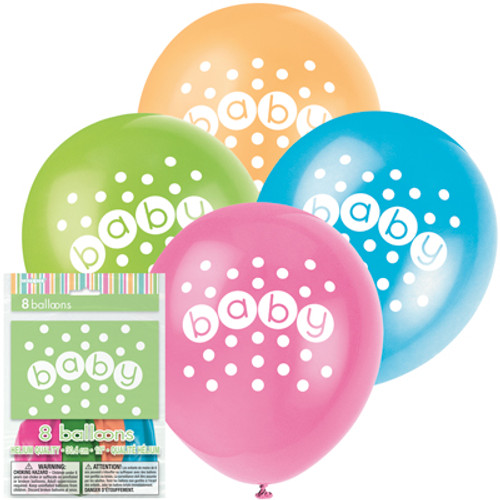 Pastel Baby Shower Baby Latex Balloons (8)