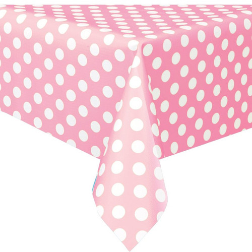 Powder Pink Big Dots Tablecover (54inx108in)