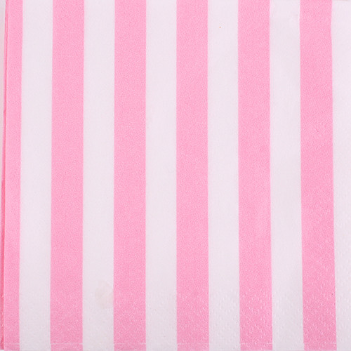 Powder Pink Striped Beverage Napkins (16)