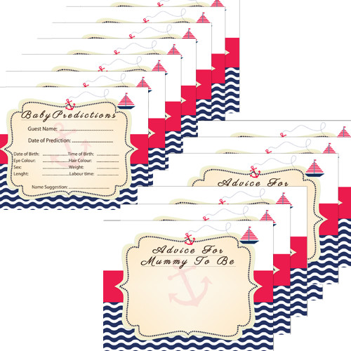Nautical Baby Shower Prediction and Advice cards (8)
